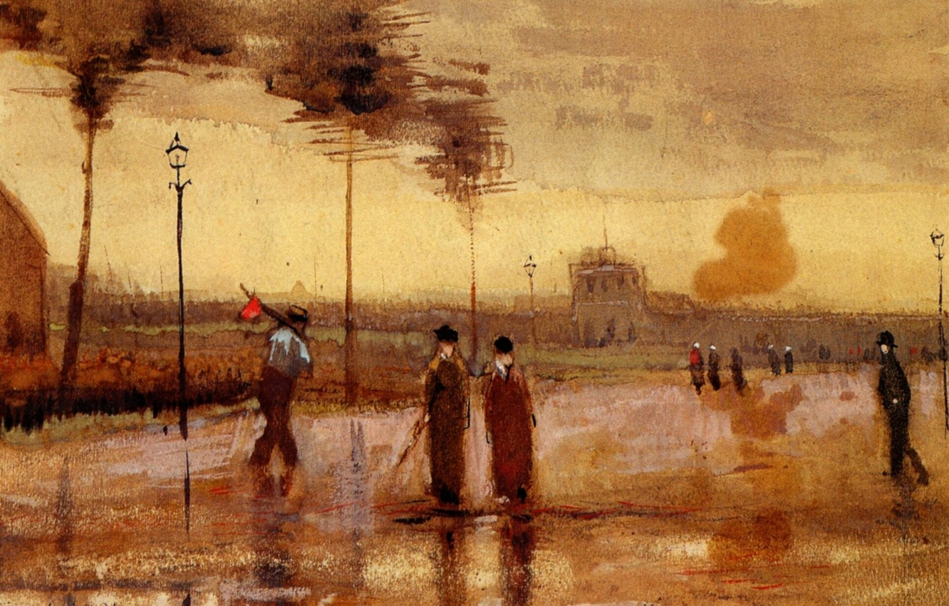 Фото обои Vincent van Gogh, Watercolors, A Sunday in Eindhoven