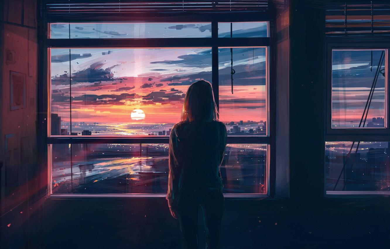 Фото обои девушка, закат, город, комната, спина, вид, окна, арт