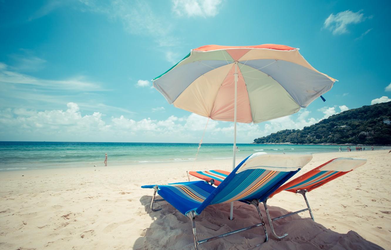 Фото обои песок, море, волны, пляж, лето, шезлонг, summer, beach, sea, blue, seascape, sand, wave