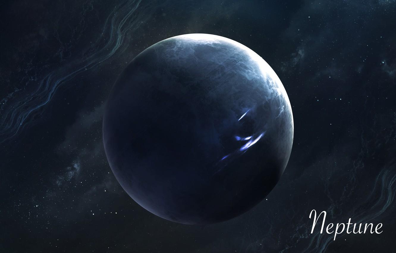 Фото обои Звезды, Планета, Космос, Нептун, Арт, Stars, Space, Art, Planet, Universe, Galaxy, Система, Neptune, Science Fiction, ...