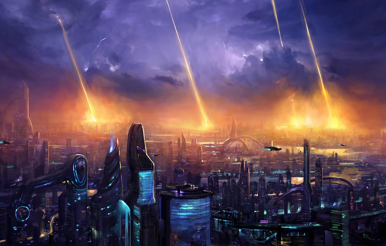 Фото обои lights, fantasy, storm, lightning, night, science fiction, clouds, sci-fi, digital art, buildings, artwork, skyscrapers, fantasy …
