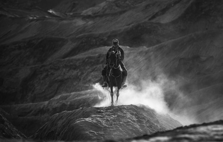 Фото обои холмы, лошадь, всадник, чёрно - белое фото