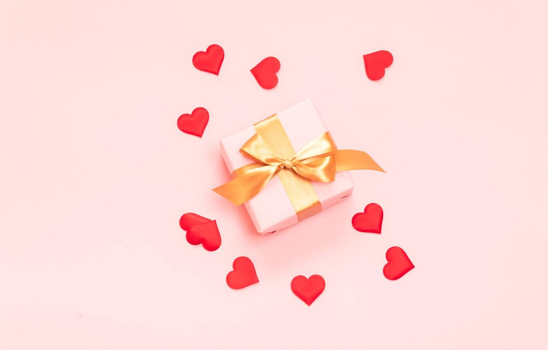 Фото обои фон, розовый, подарок, сердечки