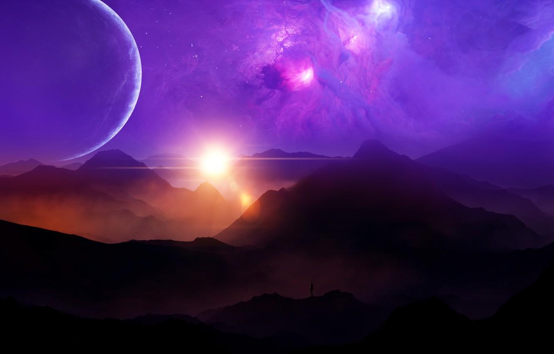 Фото обои space, sky, landscape, sunset, nebula, mountains, clouds, stars, man, planets, purple, sunrays, univerce