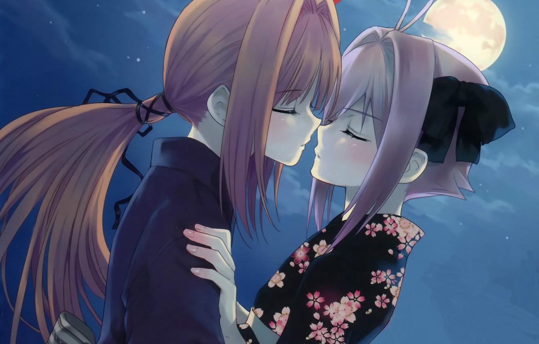 Фото обои ночь, луна, романтика, юката, длинные волосы, art, закрытые глаза, почти поцелуй, парень с девушкой, kusakabe …