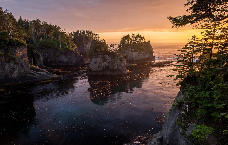 Фото обои пейзаж, закат, природа