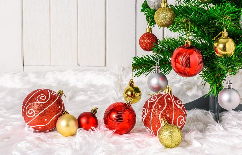 Фото обои праздник, шары, елка, Новый год, декор, Рождество Христово