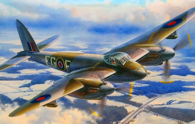 Обои De havilland mosquito, британский многоцелевой бомбардировщик. Авиация foto 15