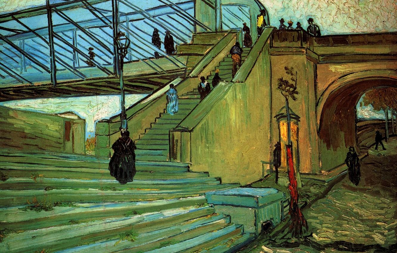 Фото обои мост, люди, лестница, арка, Vincent van Gogh, The Trinquetaille Bridge