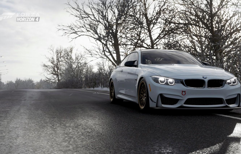 Фото обои трасса, Зима, BMW M4, Forza Horizon 4