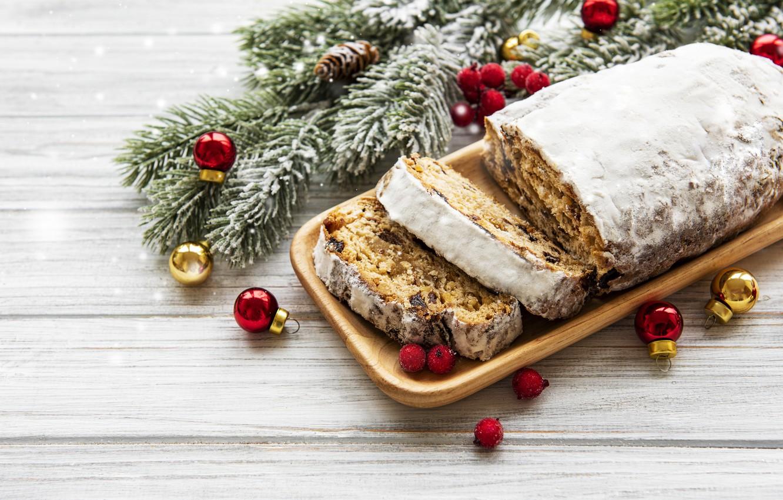 Фото обои снег, украшения, Рождество, Новый год, new year, Christmas, cake, wood, winter, snow, кекс, decoration, fir …