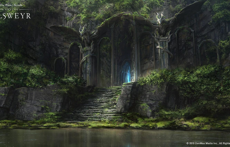 Фото обои озеро, замок, дракон, The Elder Scrolls Online