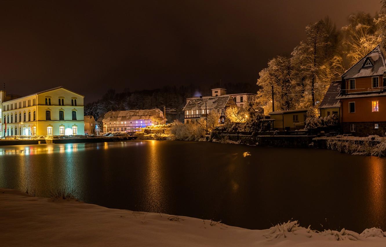 Обои ночь, канал, дома, Luneburgo, фонари, германия, saxony. Города foto 8