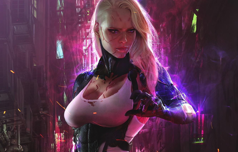 Фото обои девушка, фантастика, рука, арт, киборг, sci-fi, cyberpunk