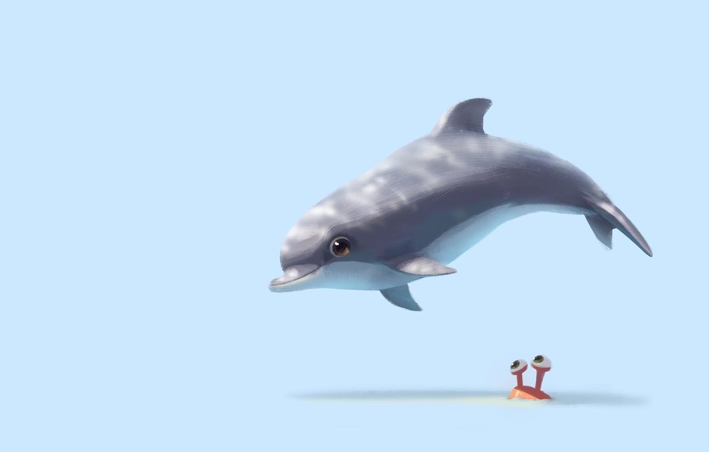 Фото обои дельфин, настроение, арт, детская, Lynn Chen, Hi there!
