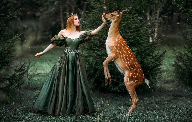 Фото обои лес, девушка, платье, фэнтези, лань