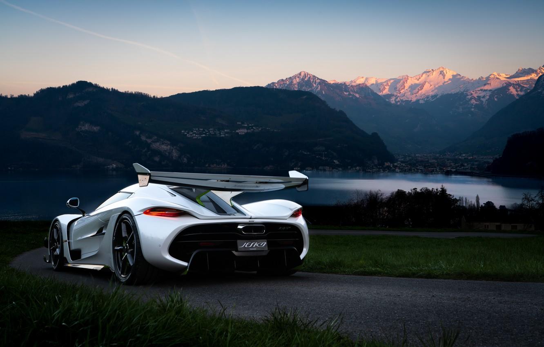 Фото обои вода, горы, Koenigsegg, гиперкар, Jesko