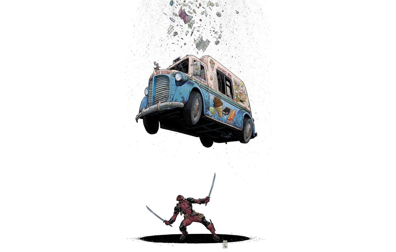 Фото обои Машина, Костюм, Комикс, Car, Мечи, Deadpool, Marvel, Дэдпул, Marvel Comics, Comics, Фургон, Wade Wilson, Мороженое, …