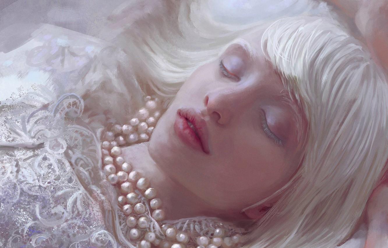 Фото обои Девушка, Рисунок, Блондинка, Губы, Лицо, Girl, Волосы, Бусы, Лежит, Арт, Art, Blonde, Face, Lips, Hair, …