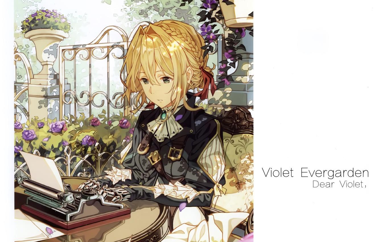 Фото обои ограда, печатная машинка, art, на столе, ремни, железная рука, в саду, листы бумаги, Violet Evergarden, …