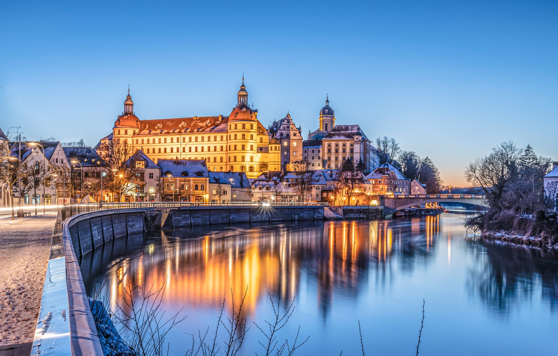 Фото обои мост, река, замок, дома, Германия, Бавария, ночной город, набережная, Germany, Bavaria, Danube River, Нойбург, Neuburg …