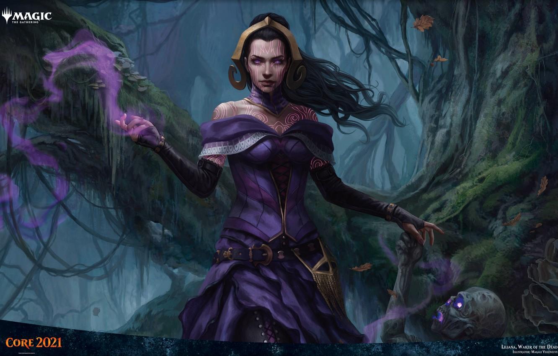 Фото обои девушка, зомби, маг, некромант, Liliana, Magic: The Gathering, Waker of the Dead