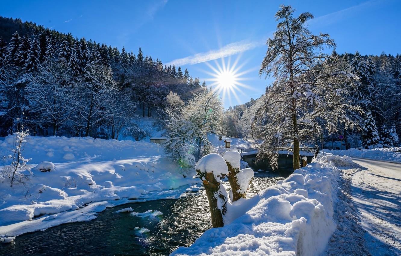 Фото обои зима, снег, река, ёлки