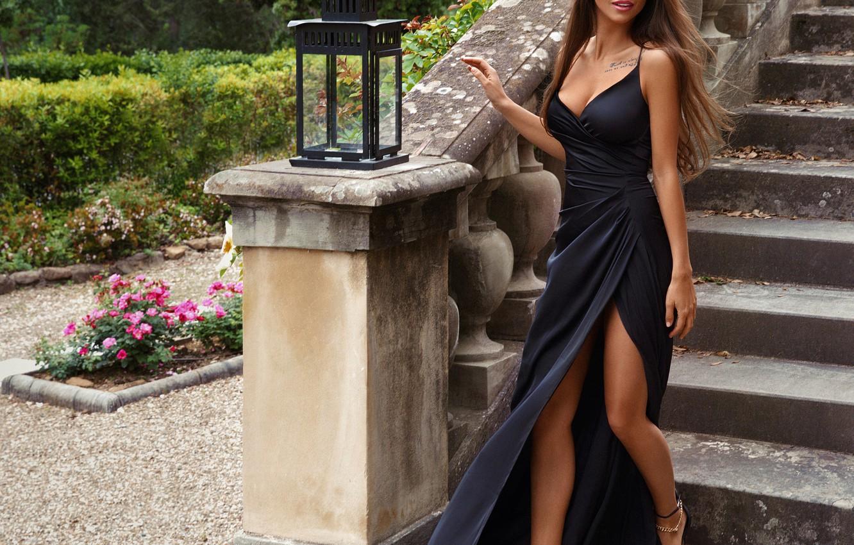 Фото обои девушка, стиль, модель, платье, лестница, фонарь, Viki Odintcova, Виктория Одинцова, Sasha Cosmos