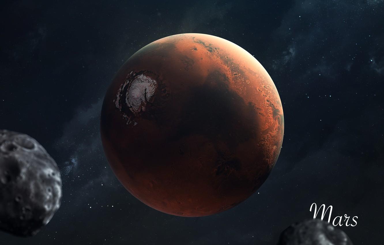 Фото обои Звезды, Планета, Космос, Марс, Арт, Stars, Space, Art, Planet, Universe, Galaxy, Система, Mars, Science Fiction, ...