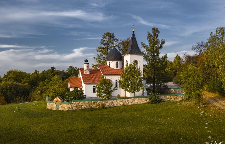 Фото обои пейзаж, природа, село, Илья Гарбузов, Бёхово, церковь Троицы Живоначальной