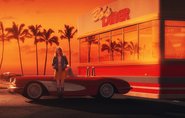 Фото обои Девушка, Авто, Chevrolet, Ретро, Машина, Арт, Chevrolet Corvette, 1962, Gran Turismo 6, Debora, Transport & …