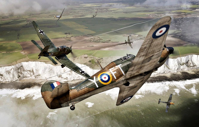 Фото обои Битва за Британию, 1940, Bf.109E, WWII, Hawker Hurricane Mk.I, Белые скалы Дувра, Ju.87B, 43 Sqn …