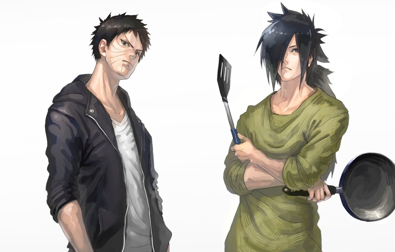 Фото обои парни, Наруто, Naruto, сковорода, Обито Учиха, Мадара Учиха