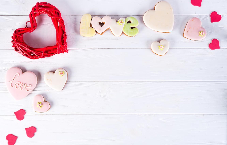 Фото обои подарок, сердце, love, heart, pink, romantic, cookies