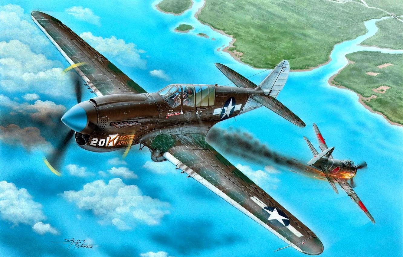 Обои американский, p-40, warhawk, kittyhawk, tomahawk, curtiss, Самолёт. Авиация foto 18