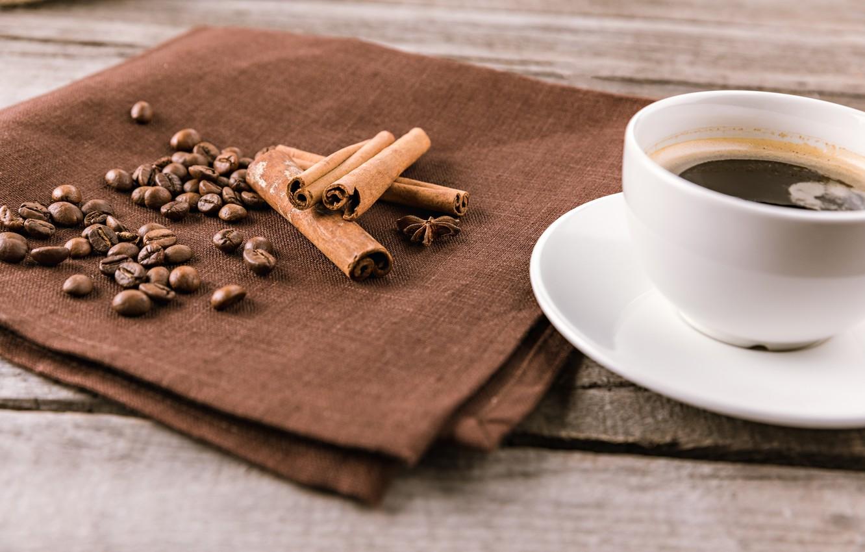 Фото обои Кофе, корица, кофейные зерна