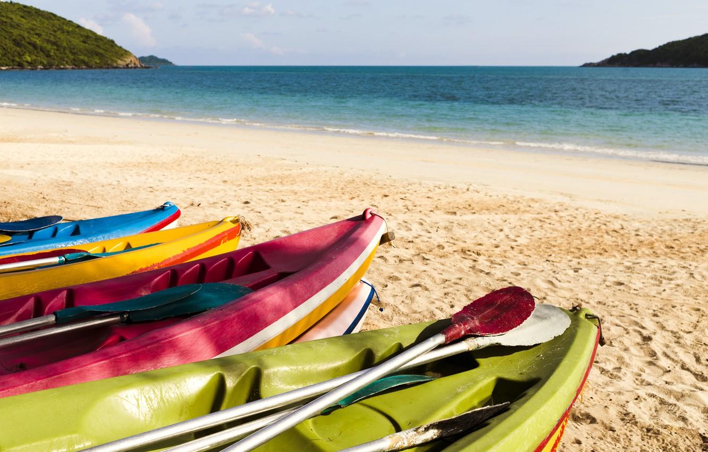 Фото обои песок, море, волны, пляж, лето, лодки, colorful, summer, beach, sea, blue, sand, wave, boats