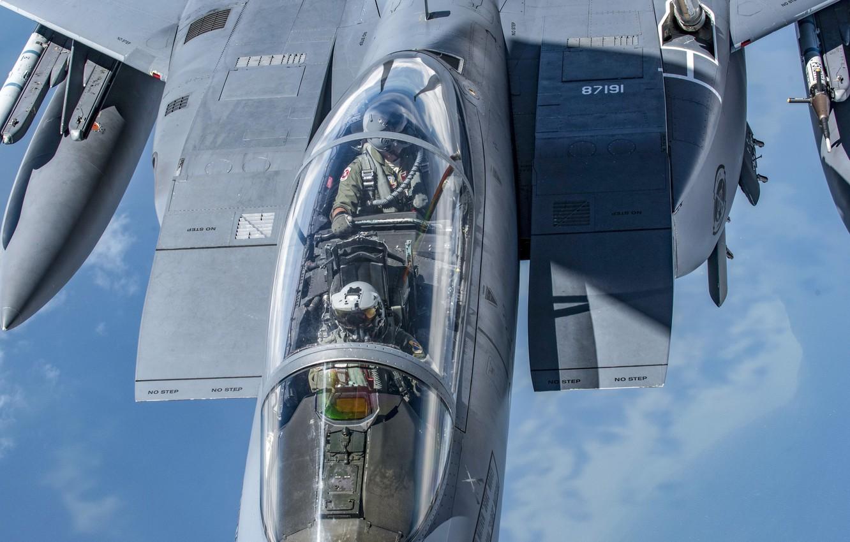 Фото обои USAF, Пилот, F-15E Strike Eagle, Кокпит