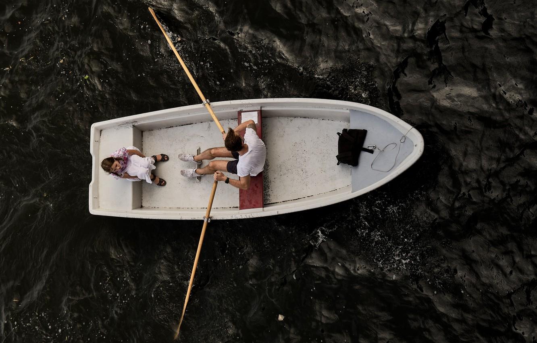 Фото обои лодка, прогулка, парочка, ракурс