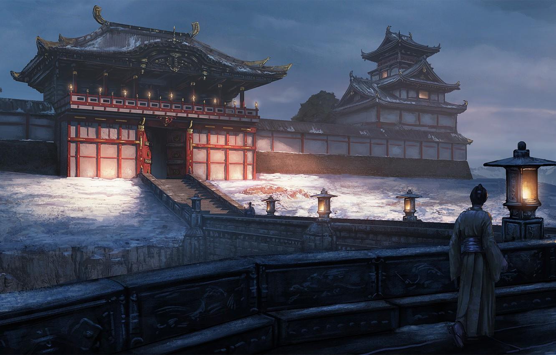 Фото обои дорога, ворота, Япония, самурай, фонари, лестница, архитектура, сумерки, art, замок-крепость, феодальная, Edward Baron