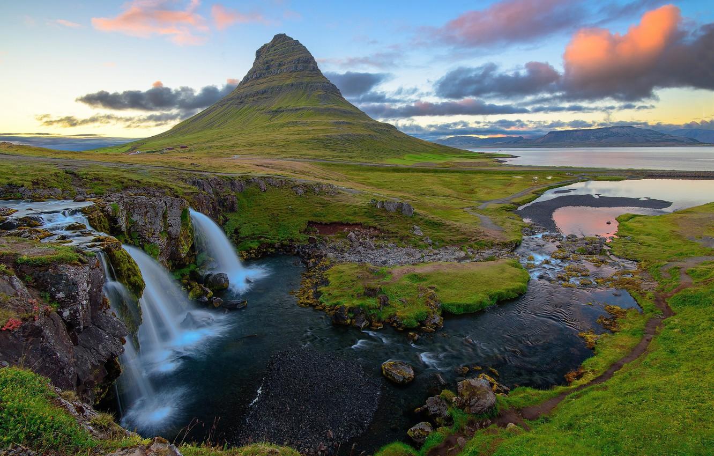 Фото обои облака, закат, Исландия, Kirkjufellsfoss