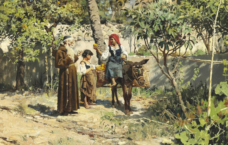 Фото обои 1886, датский живописец, Петер Мёрк Мёнстед, Peder Mørk Mønsted, Danish realist painter, oil on canvas, …