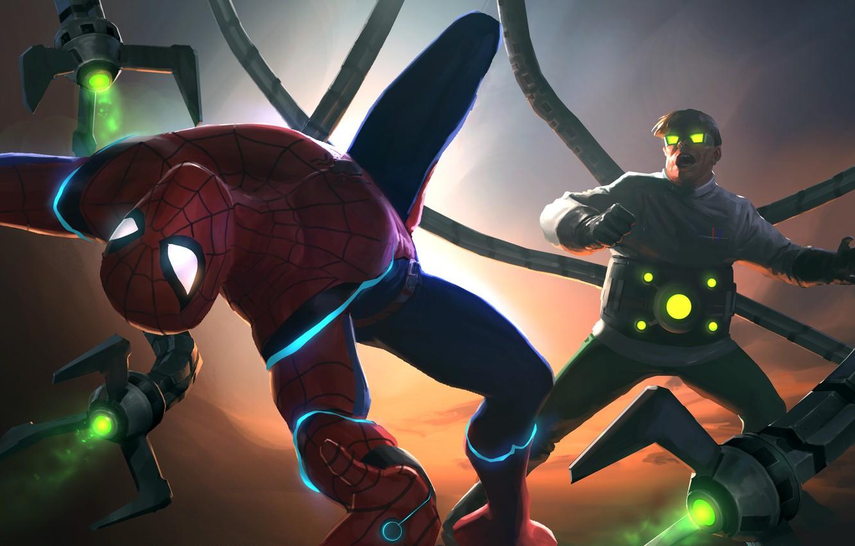 Фото обои Peter Parker, Doctor Octopus, Spider Man, Fight, Otto Octavius