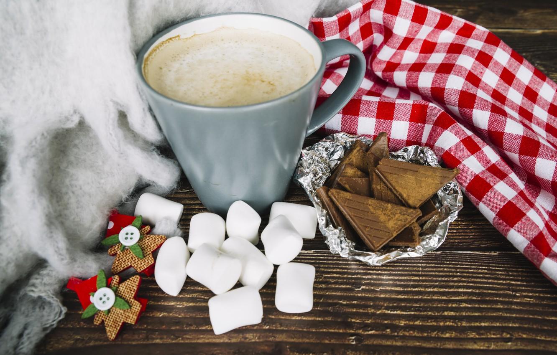 Фото обои шоколад, Рождество, кружка, Christmas, cup, chocolate, какао, cocoa, decoration, marshmallow, зефирки