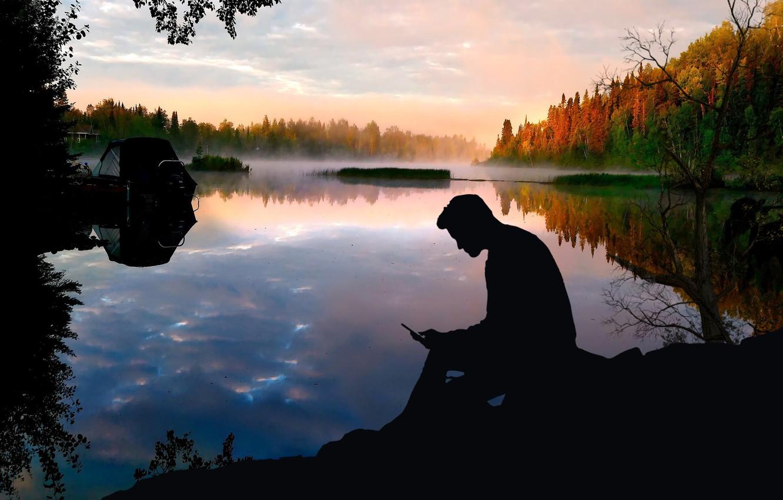 Фото обои forest, lake, camping, sunse