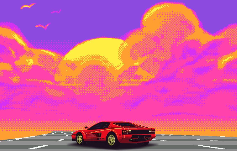 Фото обои Авто, Музыка, Ретро, Машина, Стиль, Ferrari, Music, Style, Суперкар, Пиксель, Pixel, Illustration, Testarossa, 80's, Synth, …