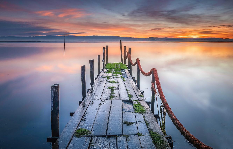Фото обои закат, мост, природа