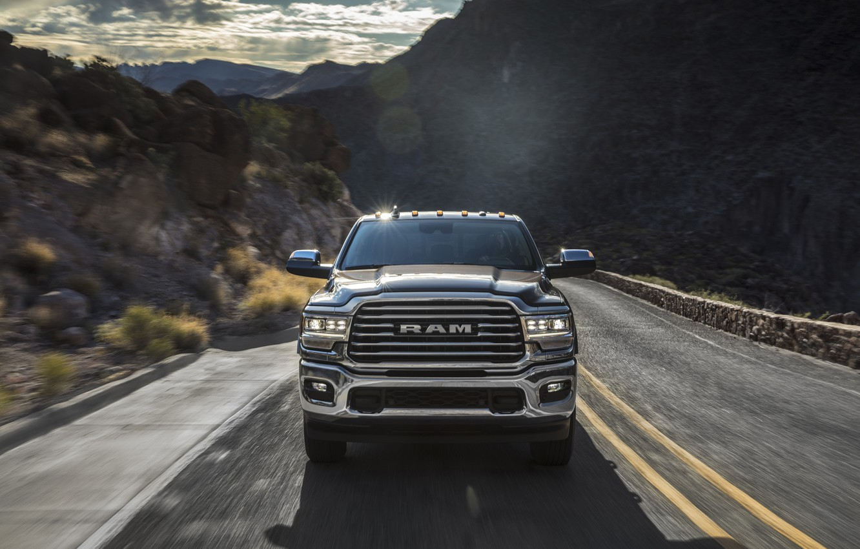 Фото обои дорога, машина, горы, фары, Dodge, Ram 2500 Heavy Duty Longhorn Mega Cab