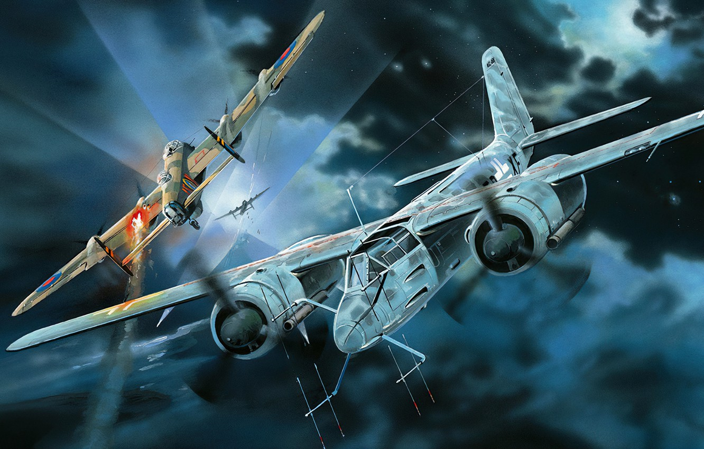 Фото обои art, airplane, aviation, ww2, ta-154