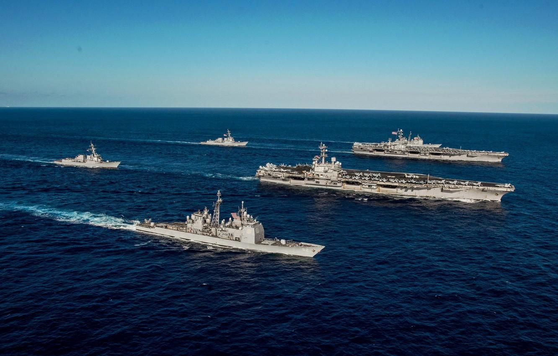 Фото обои море, корабли, армия